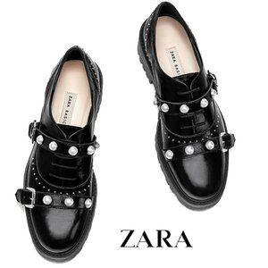Zara Black Leather Pearl Chunky Oxfords